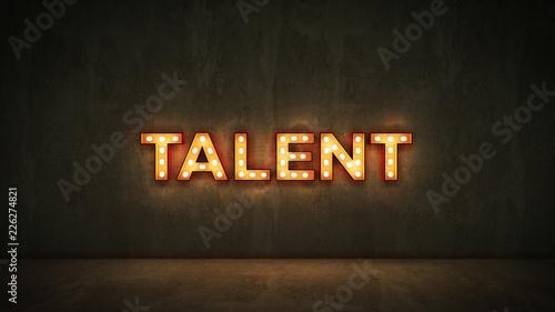 Fotografía Neon Sign on Brick Wall background - Talent. 3d rendering