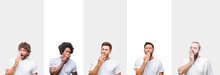 Collage Of Young Caucasian, Hispanic, Afro Men Wearing White T-shirt Over White Isolated Background Bored Yawning Tired Covering Mouth With Hand. Restless And Sleepiness.