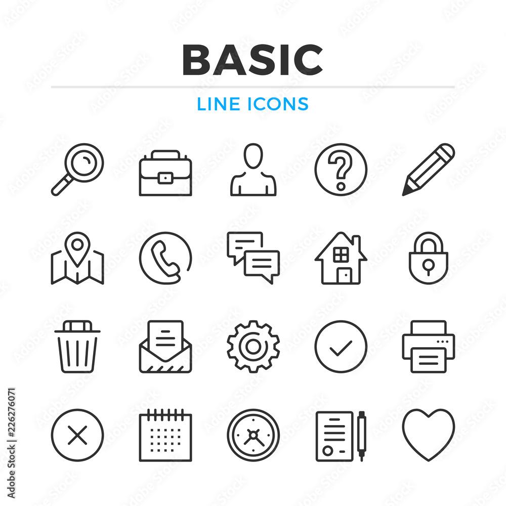 Fototapeta Basic line icons set. Modern outline elements, graphic design concepts, simple symbols collection. Vector line icons
