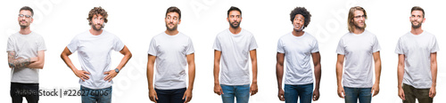 Fotografia  Collage of young caucasian, hispanic, afro men wearing white t-shirt over white isolated background smiling looking side and staring away thinking