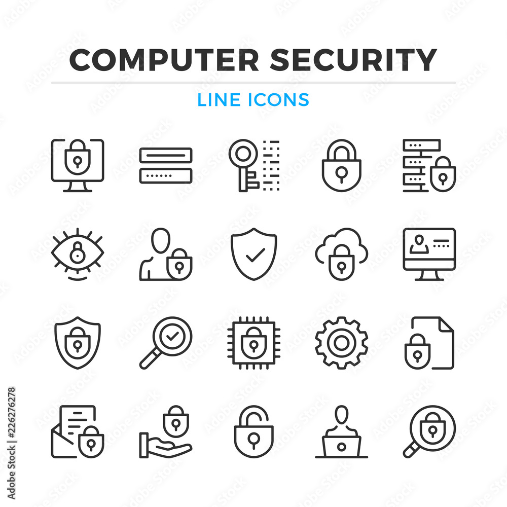 Fototapeta Computer security line icons set. Modern outline elements, graphic design concepts, simple symbols collection. Vector line icons
