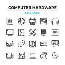 Computer Hardware Line Icons Set. Modern Outline Elements, Graphic Design Concepts, Simple Symbols Collection. Vector Line Icons