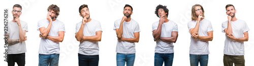 Fotografia Collage of young caucasian, hispanic, afro men wearing white t-shirt over white isolated background with hand on chin thinking about question, pensive expression