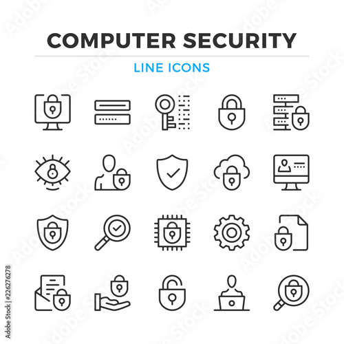 Computer security line icons set Wallpaper Mural