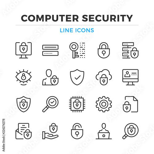 Foto Computer security line icons set