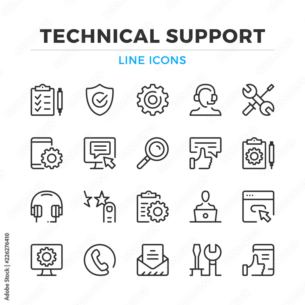 Fototapeta Technical support line icons set. Modern outline elements, graphic design concepts, simple symbols collection. Vector line icons