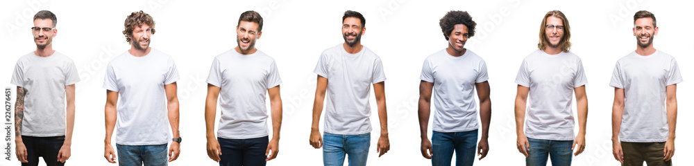 Fototapeta Collage of young caucasian, hispanic, afro men wearing white t-shirt over white isolated background winking looking at the camera with sexy expression, cheerful and happy face.
