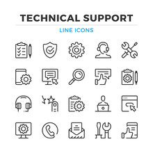 Technical Support Line Icons S...