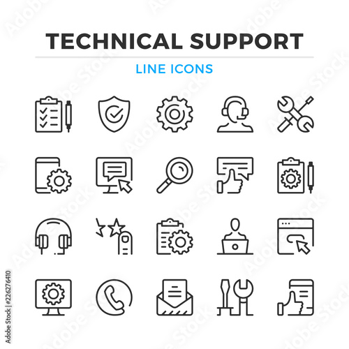 Fotografia Technical support line icons set