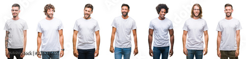 Obraz Collage of young caucasian, hispanic, afro men wearing white t-shirt over white isolated background winking looking at the camera with sexy expression, cheerful and happy face. - fototapety do salonu