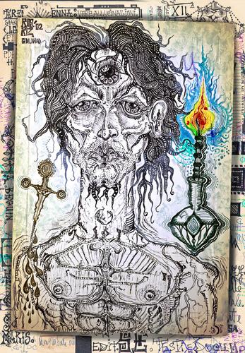 Spoed Foto op Canvas Imagination Sciamano e veggente con simboli alchemici e esoterici