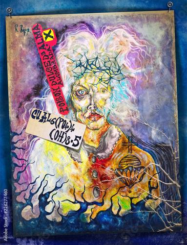 Spoed Foto op Canvas Imagination Sciamano mitologico. Disegno alchemico e esoterico con mago e simboli