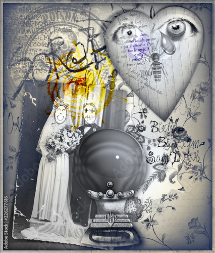 Foto op Aluminium Imagination Graffiti background with magic crystal ball and esoteric sketches