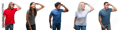 Composition of african american, hispanic and caucasian group of people over isolated white background very happy and smiling looking far away with hand over head. Searching concept.