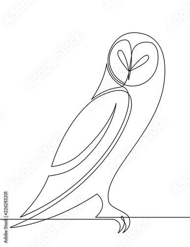 Owl Continuous Line Vector Graphic Cartoon