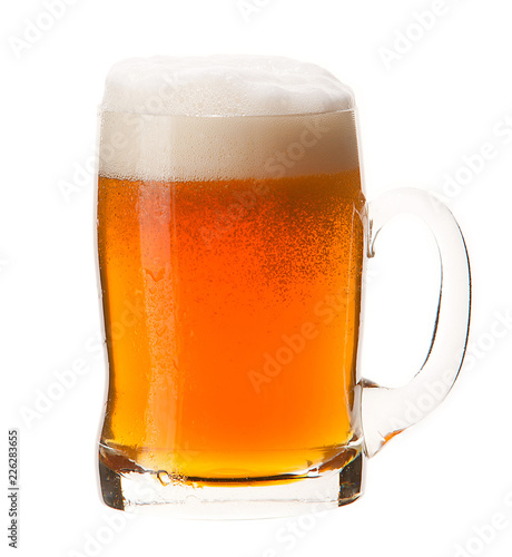 Fotobehang Bar Cold mug of orange beer with foam isolated on white background.