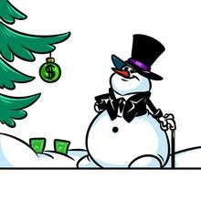 Gray Snowman Gentleman Cartoon Illustration Christmas