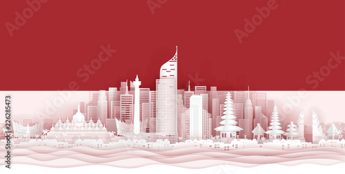 Indonesia flag and famous landmarks in paper cut style vector illustration Wallpaper Mural