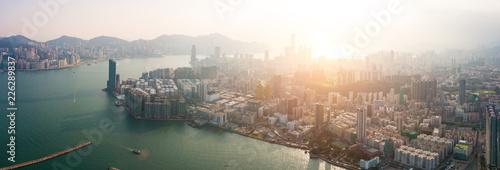 Fototapeten New York Hong Kong City at aerial view in the sky