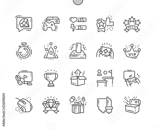 Video Games Well-crafted Pixel Perfect Vector Thin Line Icons 30 2x Grid for Web Graphics and Apps Canvas Print