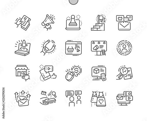 Obraz na plátně Marketing Well-crafted Pixel Perfect Vector Thin Line Icons 30 2x Grid for Web Graphics and Apps
