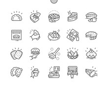 Pies And Pasties Well-crafted Pixel Perfect Vector Thin Line Icons 30 2x Grid For Web Graphics And Apps. Simple Minimal Pictogram