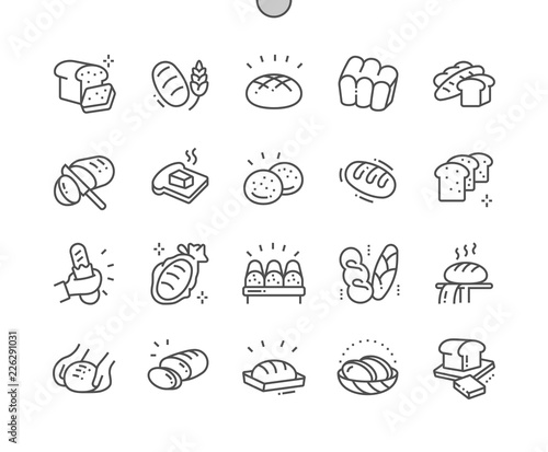 Stampa su Tela Bread Well-crafted Pixel Perfect Vector Thin Line Icons 30 2x Grid for Web Graphics and Apps