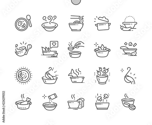 Fototapeta Soup Well-crafted Pixel Perfect Vector Thin Line Icons 30 2x Grid for Web Graphics and Apps. Simple Minimal Pictogram obraz