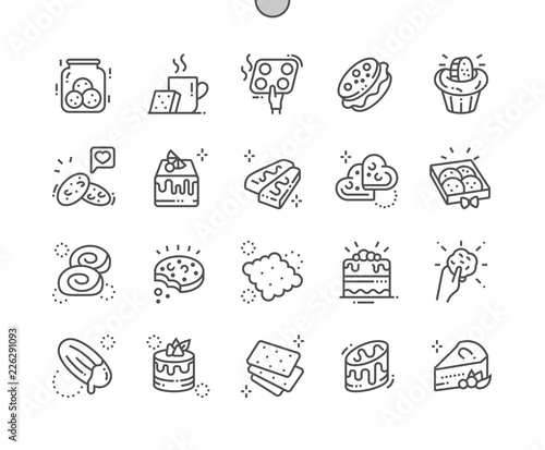 Obraz na plátně Cakes and cookies Well-crafted Pixel Perfect Vector Thin Line Icons 30 2x Grid for Web Graphics and Apps