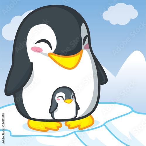 Fototapeta Penquins cartoon, Cute cartoon, Cute animal