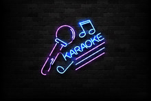 Vector Realistic Isolated Neon Sign Of Karaoke Logo For Decoration And Covering On The Wall Background. Concept Of Night Club And Live Music.