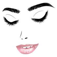 Female Face With Closed Eyes And Pink Lips