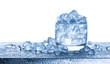 Leinwandbild Motiv Water with crushed ice cubes in glass on white background