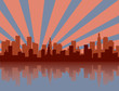 Red and blue city skyline silhouette
