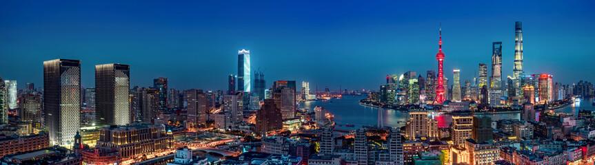Panel Szklany Miasto Nocą panorama of shanghai skyline at night