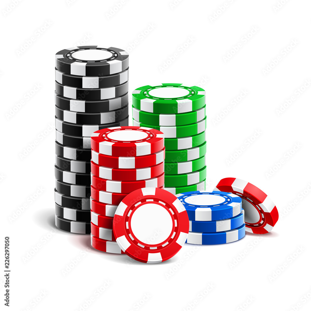 Fototapeta Stack of realistic empty chips for casino or pile of blank 3d gambling tokens. Volumetric heap of money or cash for games like poker and blackjack, roulette. Betting club and gamble, winning theme