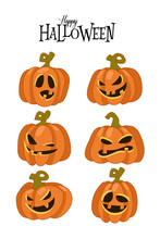 Set Of Spooky Horror Images Of Pumpkins. Scary Jack-o-lantern Facial Expressions Illustration