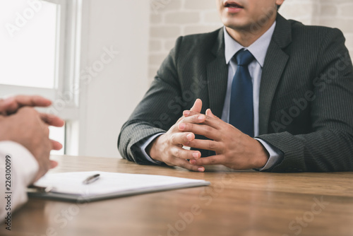 Businessman making an agreement with client Canvas Print