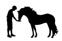 Vector Silhouette Of Man With Horse White Background.