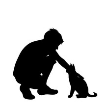 Vector Silhouette Of Man With Cat White Background.