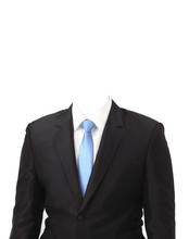 Man Suit Without Head On White...