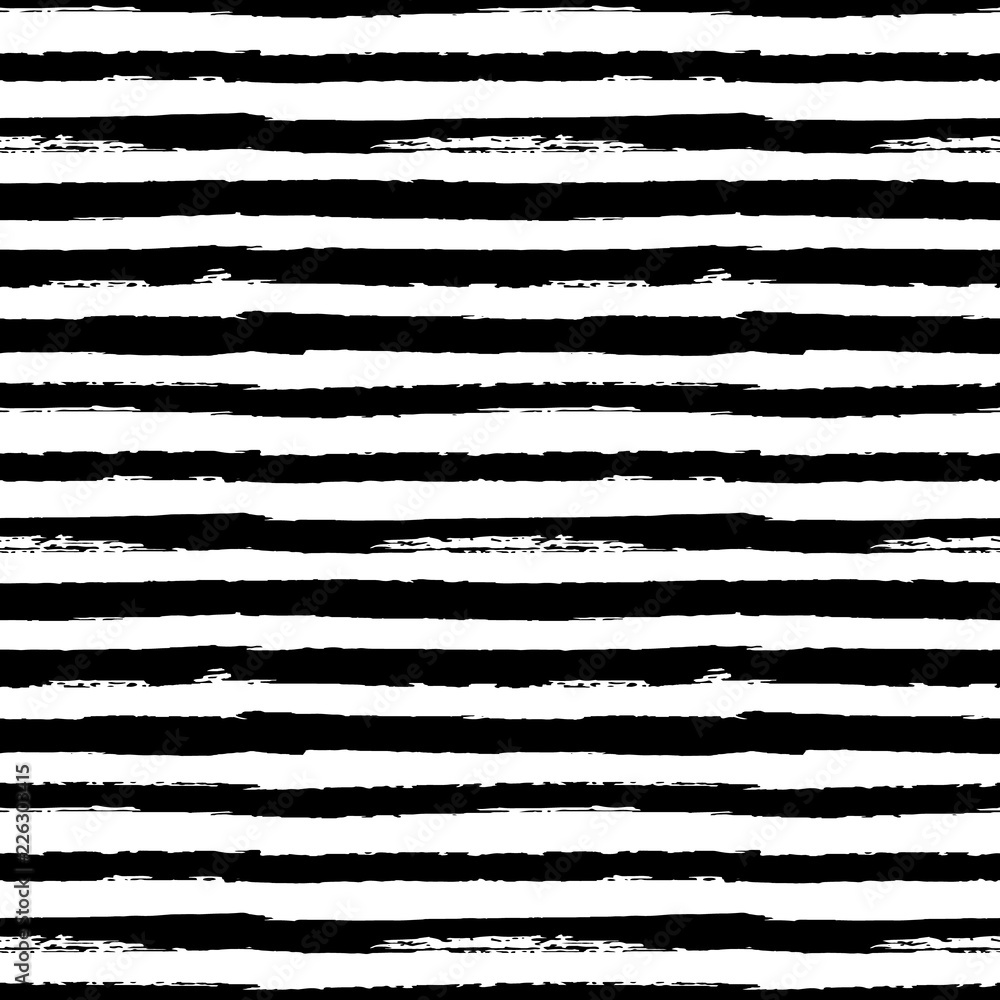 Fototapeta Black and white seamless pattern background with grunge paint stripes vector