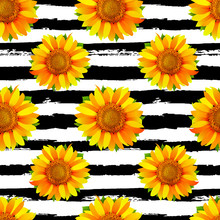 Seamless Pattern With Sunflowers On Black And White Stripes Background Vector
