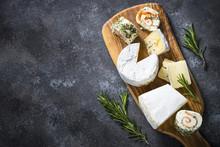 Cheese Platter On Dark Stone T...
