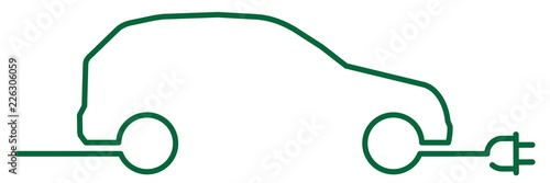 ncld2 NewContinuousLineDrawing ncld - english - green car (electric vehicle / electric mobility) with power plug: (continuous line drawing / line-art-sign) - banner 3to1 - xxl g6673