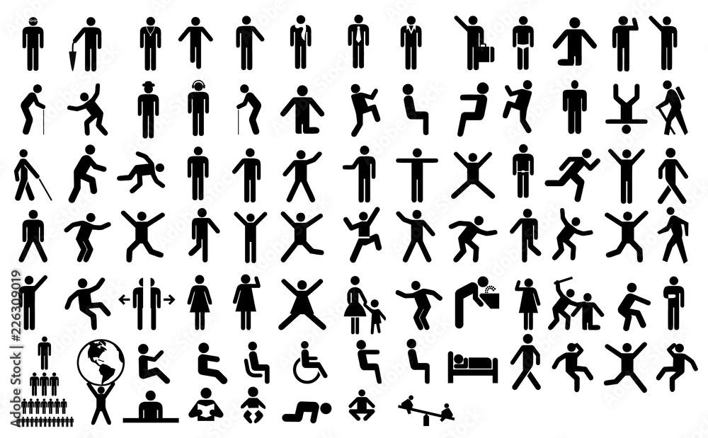 Fototapety, obrazy: Big set people action pictogram. Black illustration