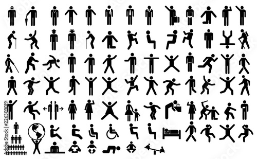Fotomural  Big set people action pictogram. Black illustration