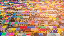 Aerial View Multiple Colour Market Roof Top, Flea Market