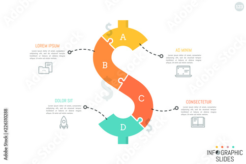 Fototapeta Jigsaw puzzle in shape of dollar sign divided into 4 pieces. Minimal infographic design layout. Money saving, monetary policy, finance and budget planning concept. Vector illustration for brochure. obraz