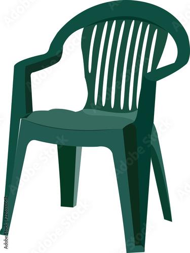 sedia di plastica verde per esterno e da giardino Canvas-taulu
